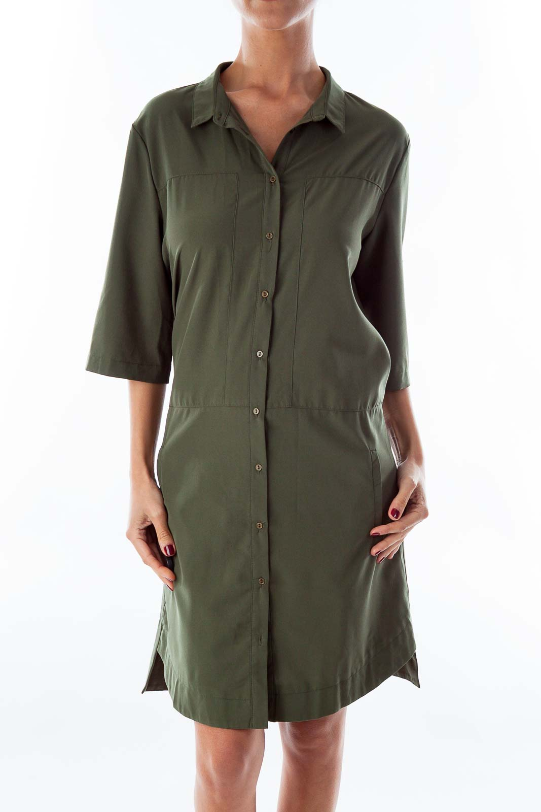 Army Green Button Down Dress Front