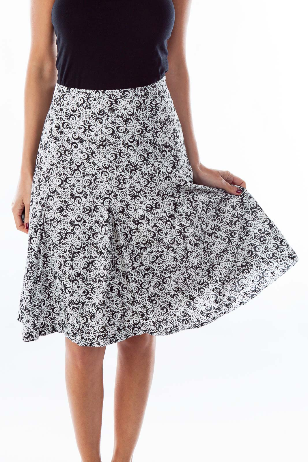 Black & White Print A-Line Skirt Front