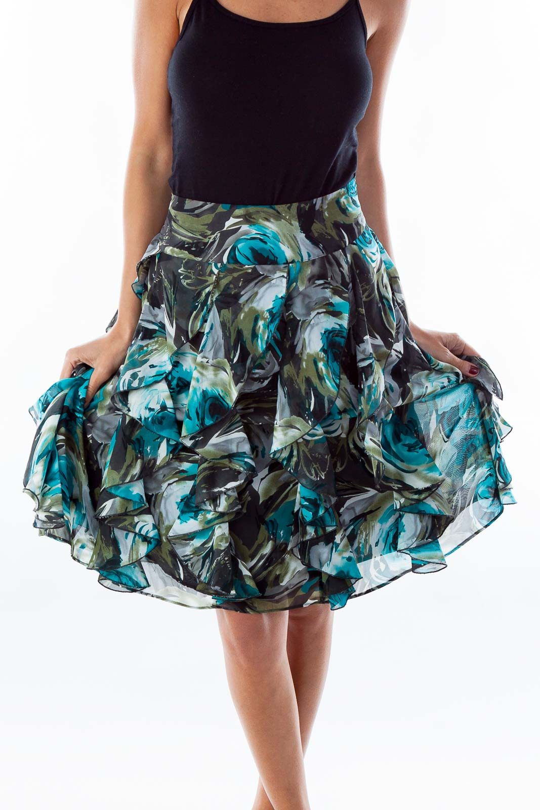 Turquoise Floral Skirt Front