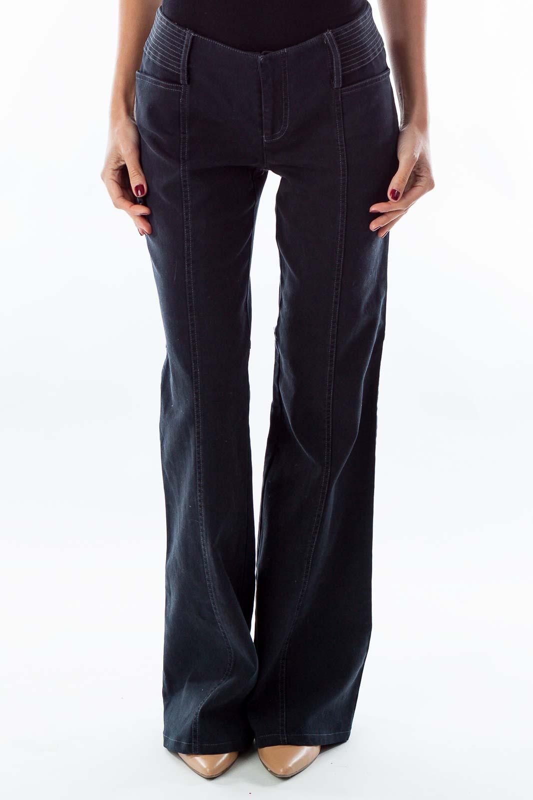 Navy Corduroy Bell-Bottom Pants Front