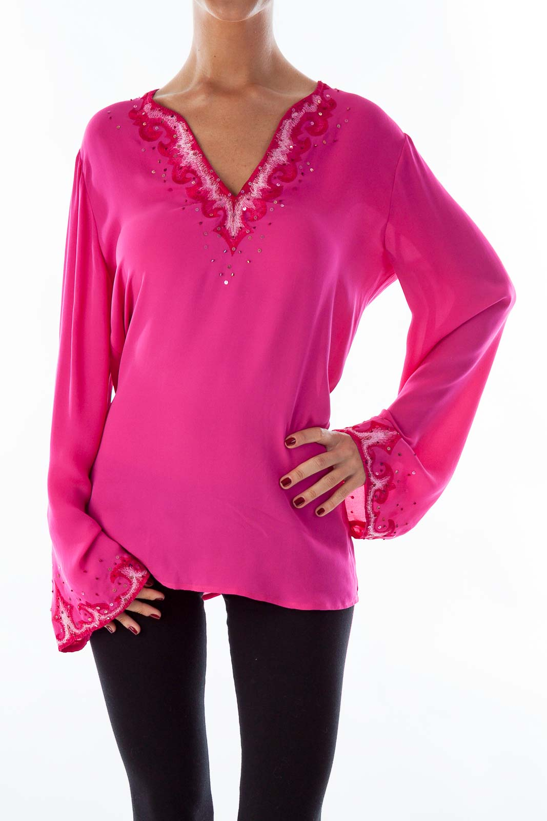 Pink Silk Embroidered Blouse Front