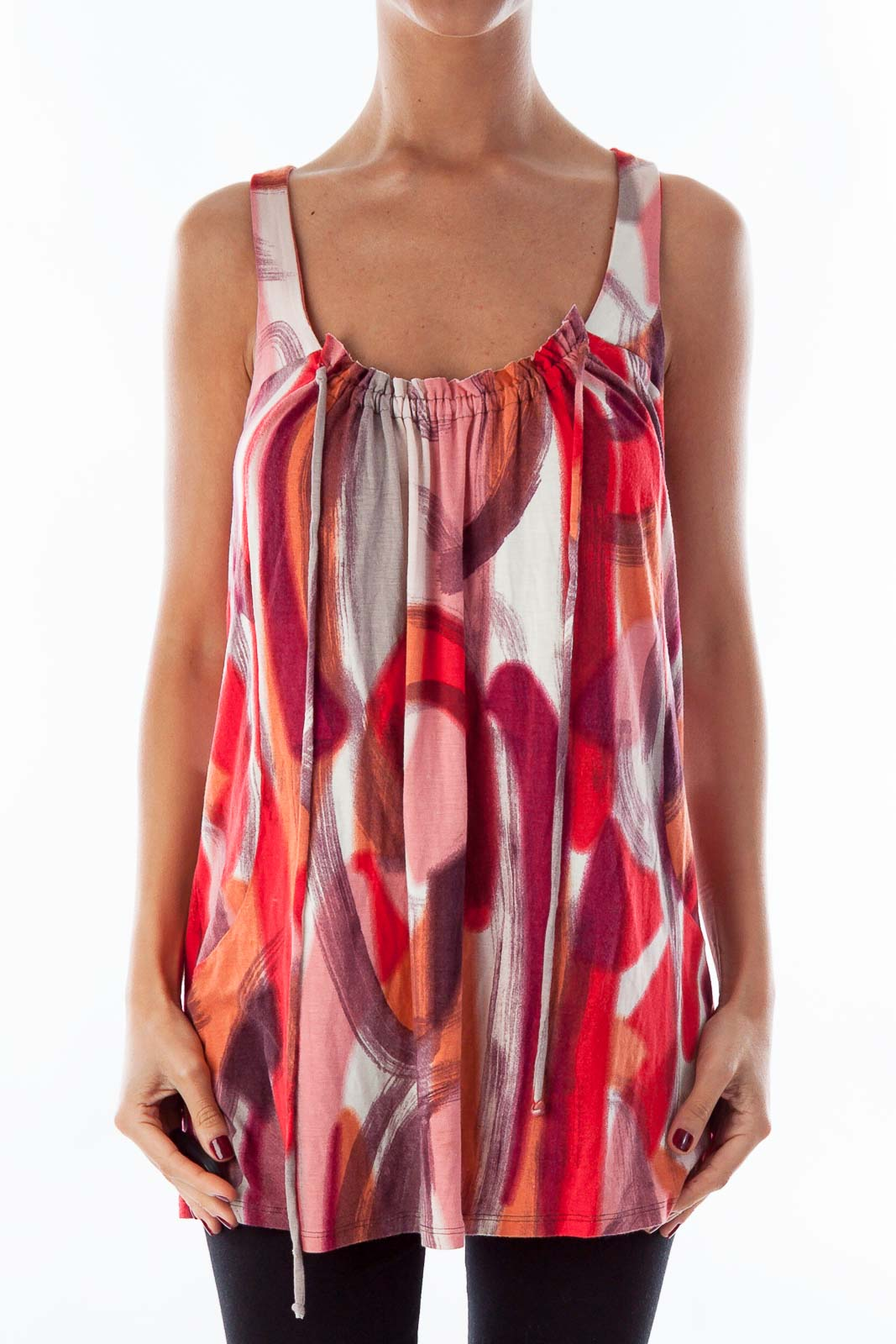 Red & Pink Brush Print Tank Top Front