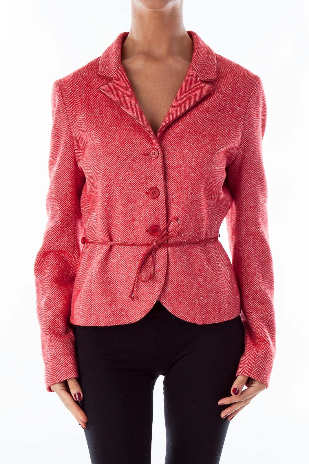 Red Tweed Belted Coat Front