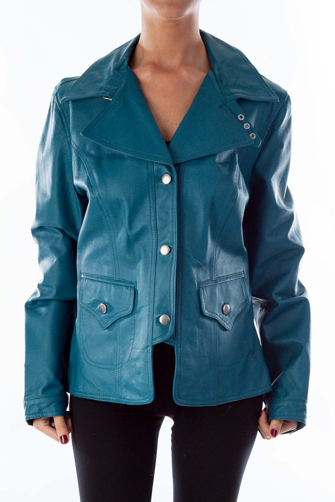 Turquoise Leather Jacket Front