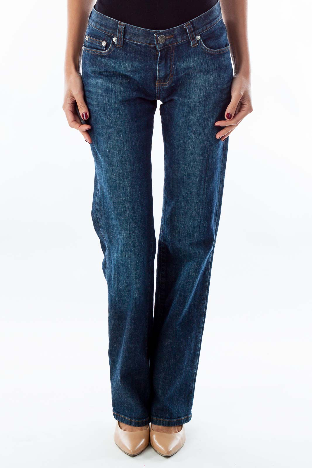 Dark Blue Boot-Cut Jeans Front