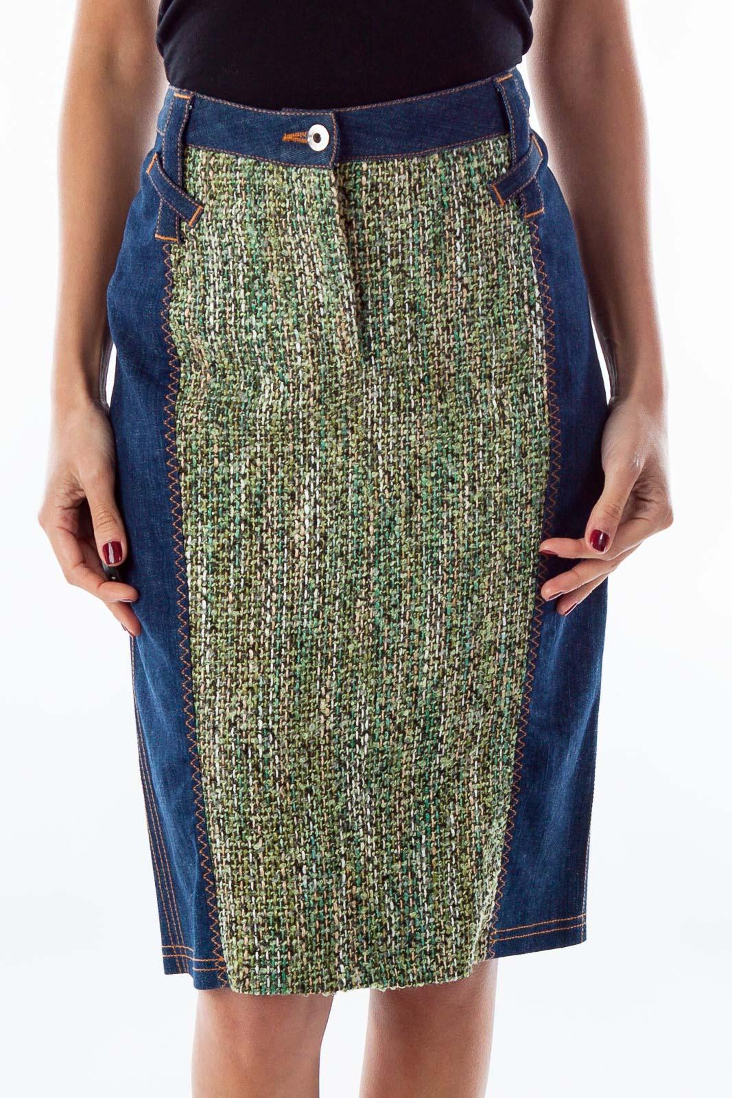 Blue Denim & Tweed Pencil Skirt Front