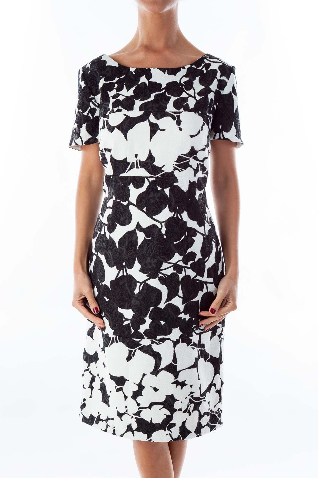 Black & White Floral Dress Front