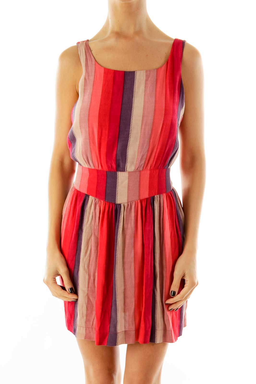 Red Striped Day Dress Front