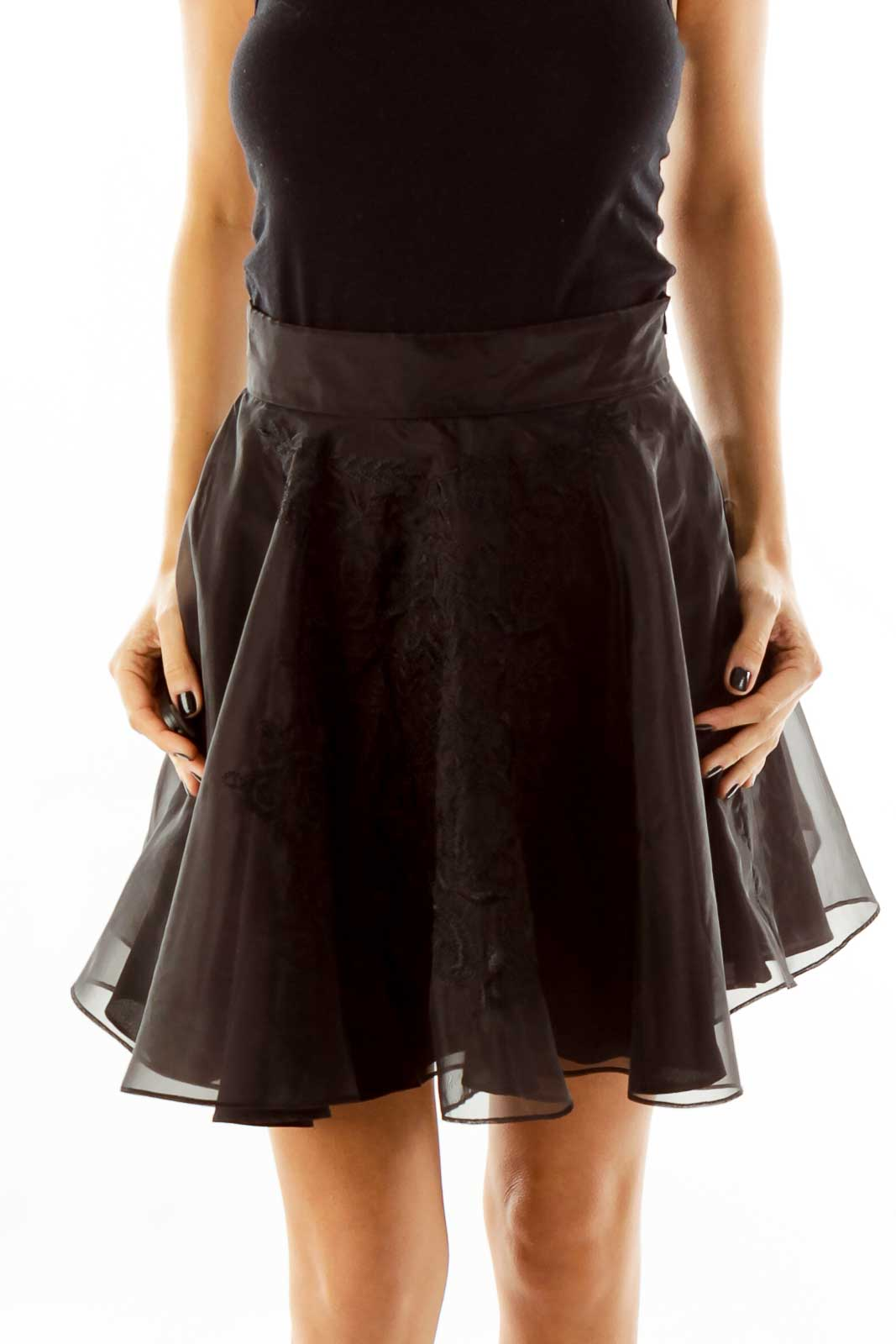Black Embroidered Skirt Front