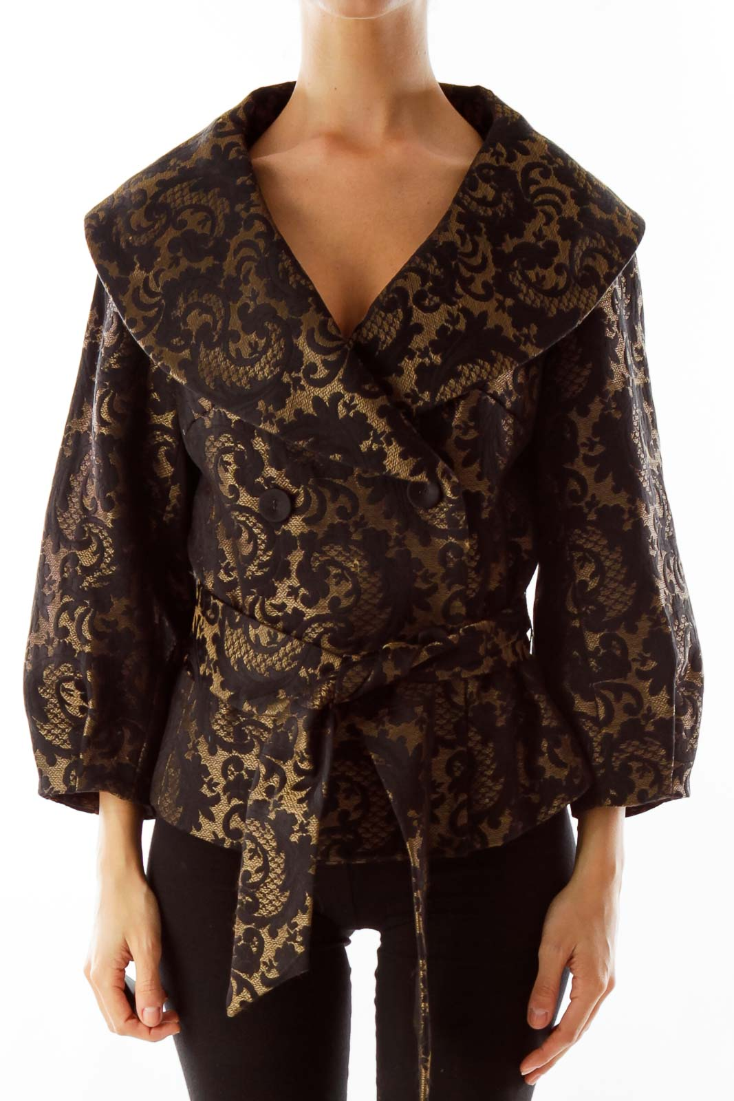 Black & Gold Embroidered Jacket Front