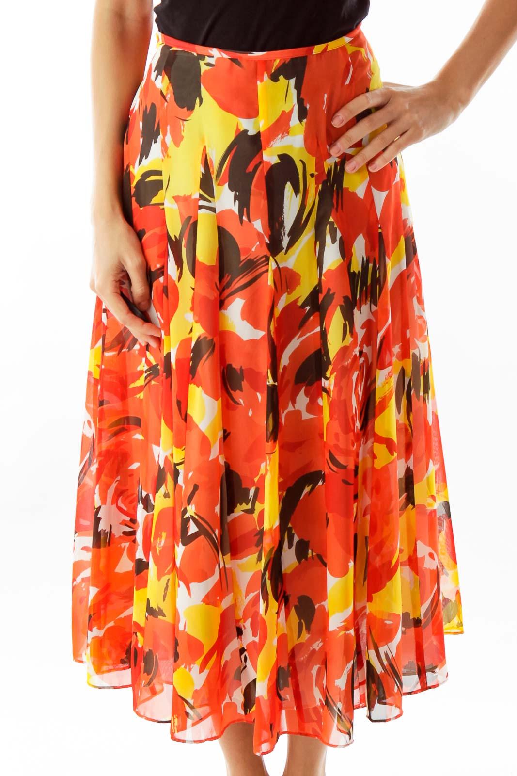 Orange Floral Skirt Front
