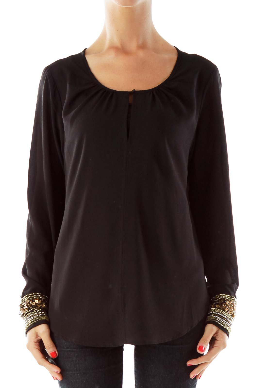Black Loose Blouse, Beaded Detail Sleeve Front