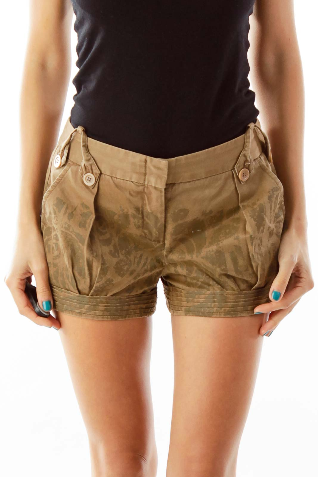 Brown Print Shorts Front