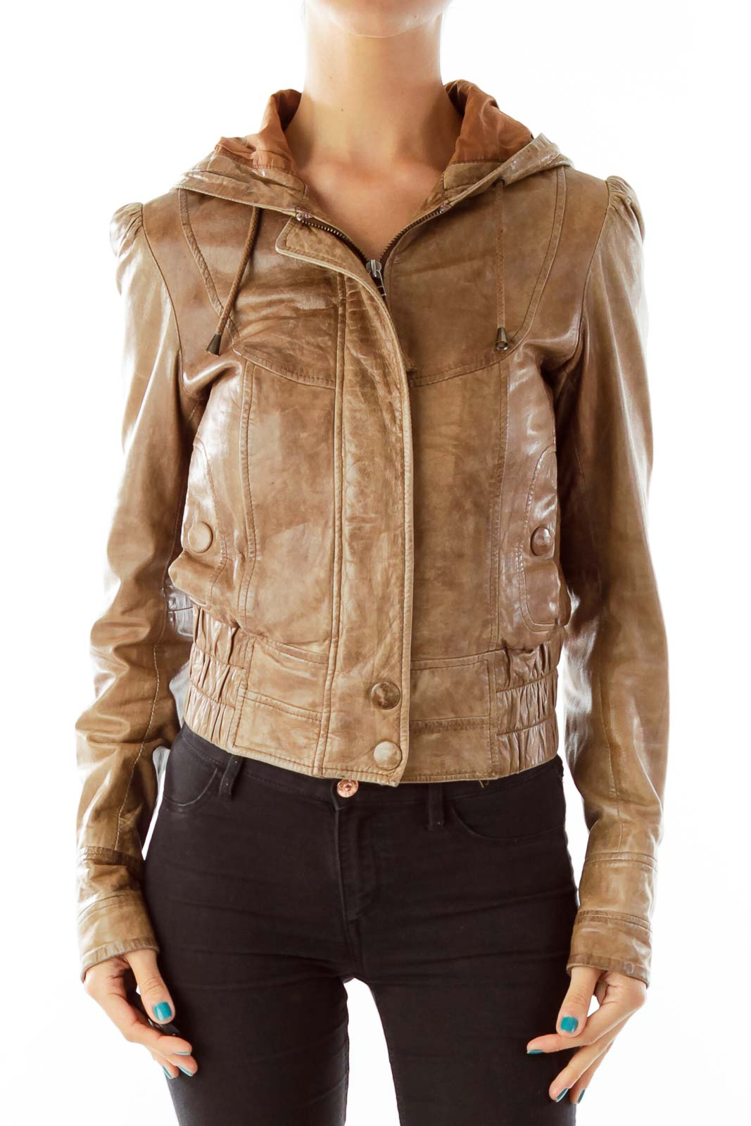 Brown Leather Hooded Jacket Front