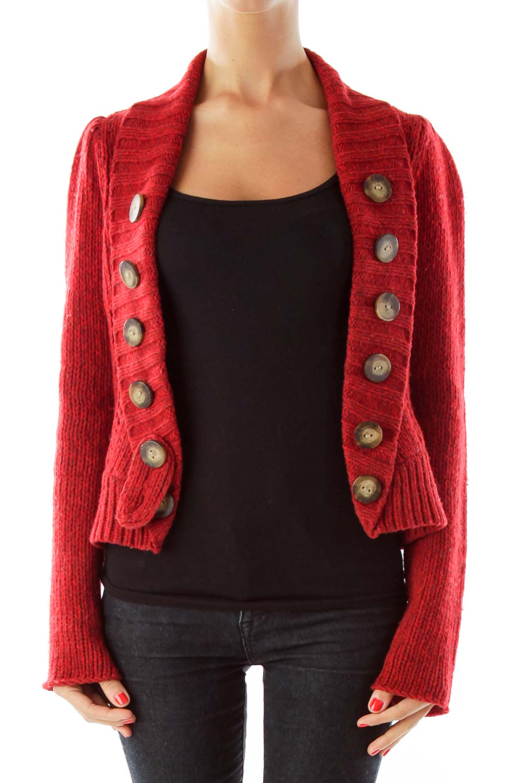 Red Wool Buttoned Sweater Front