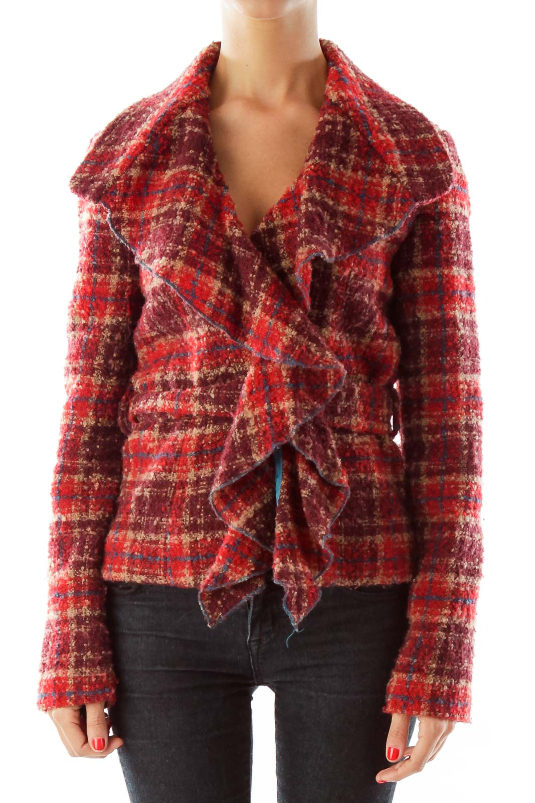 Red Tweed Belted Jacket Front