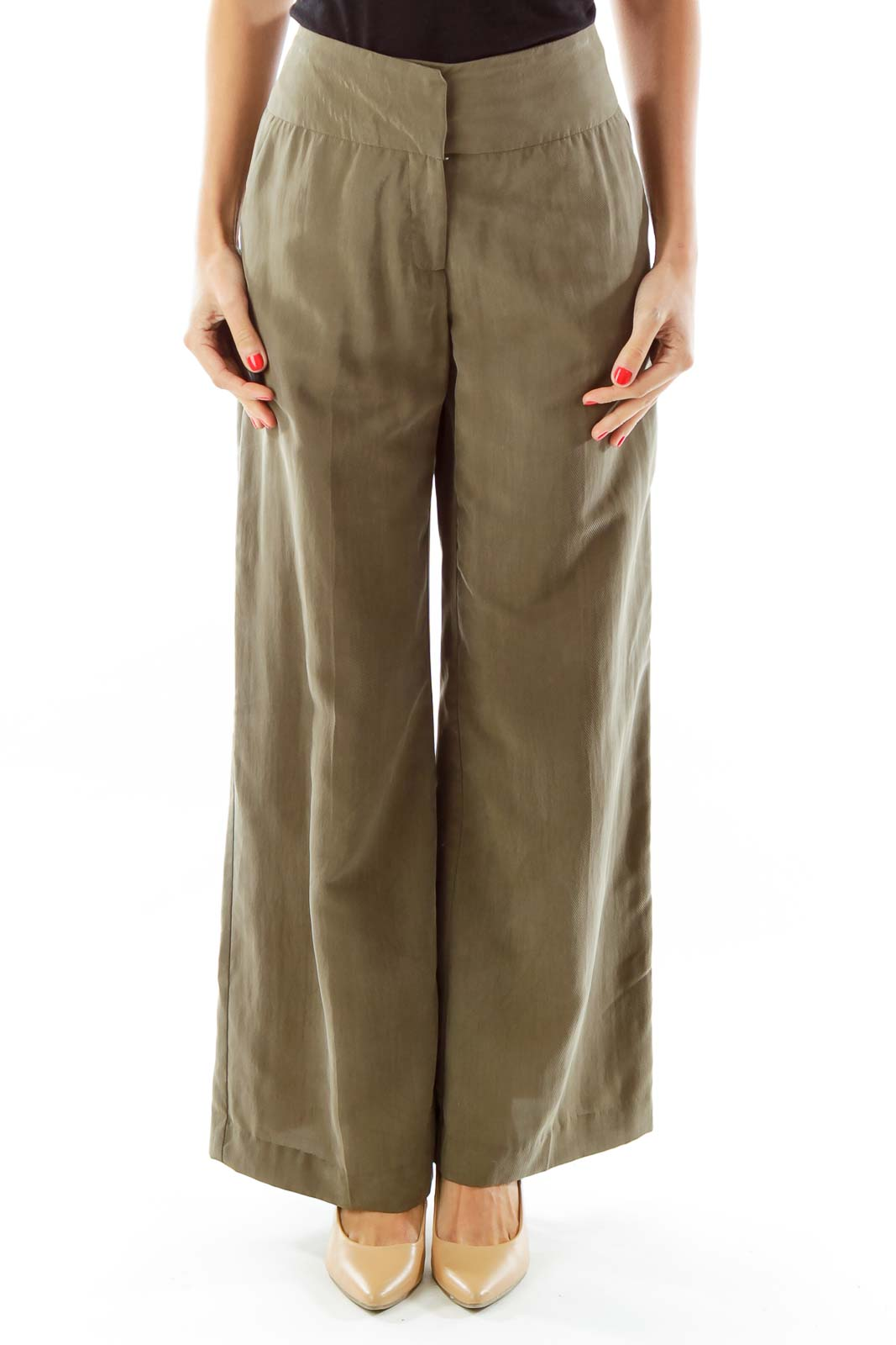 Olive Green Wide-Leg Pants Front