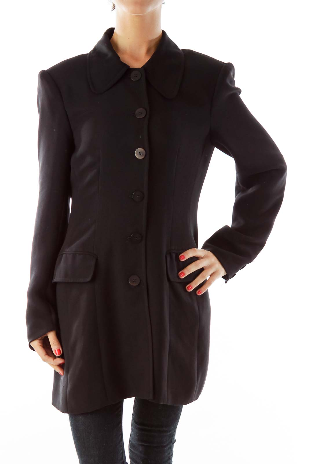 Black Single-Breasted Coat Front