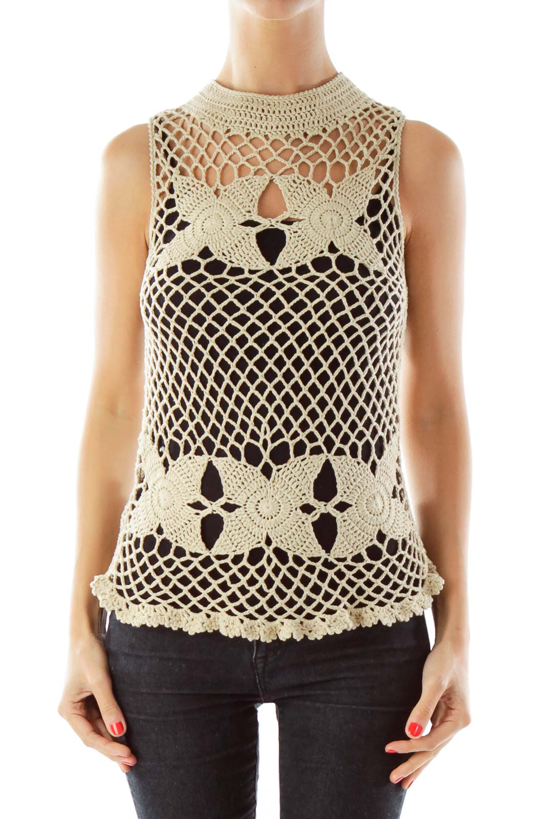 Beige Crocheted Tank Top Front