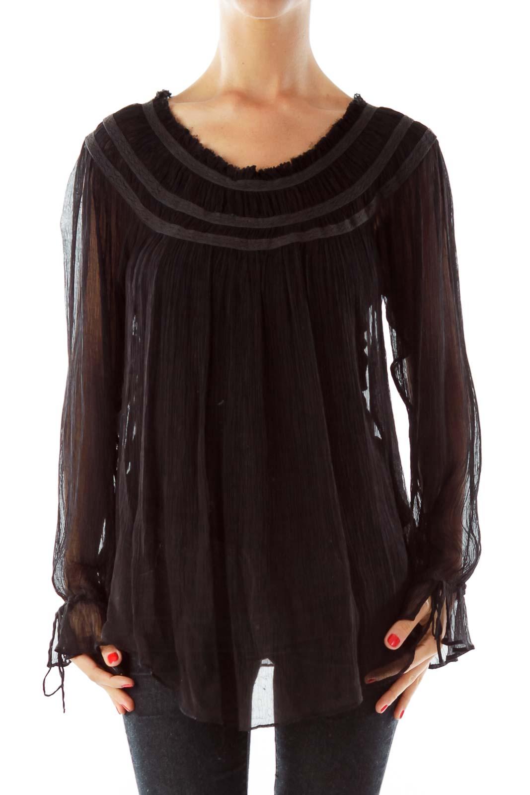 Black Sheer Loose Blouse Front