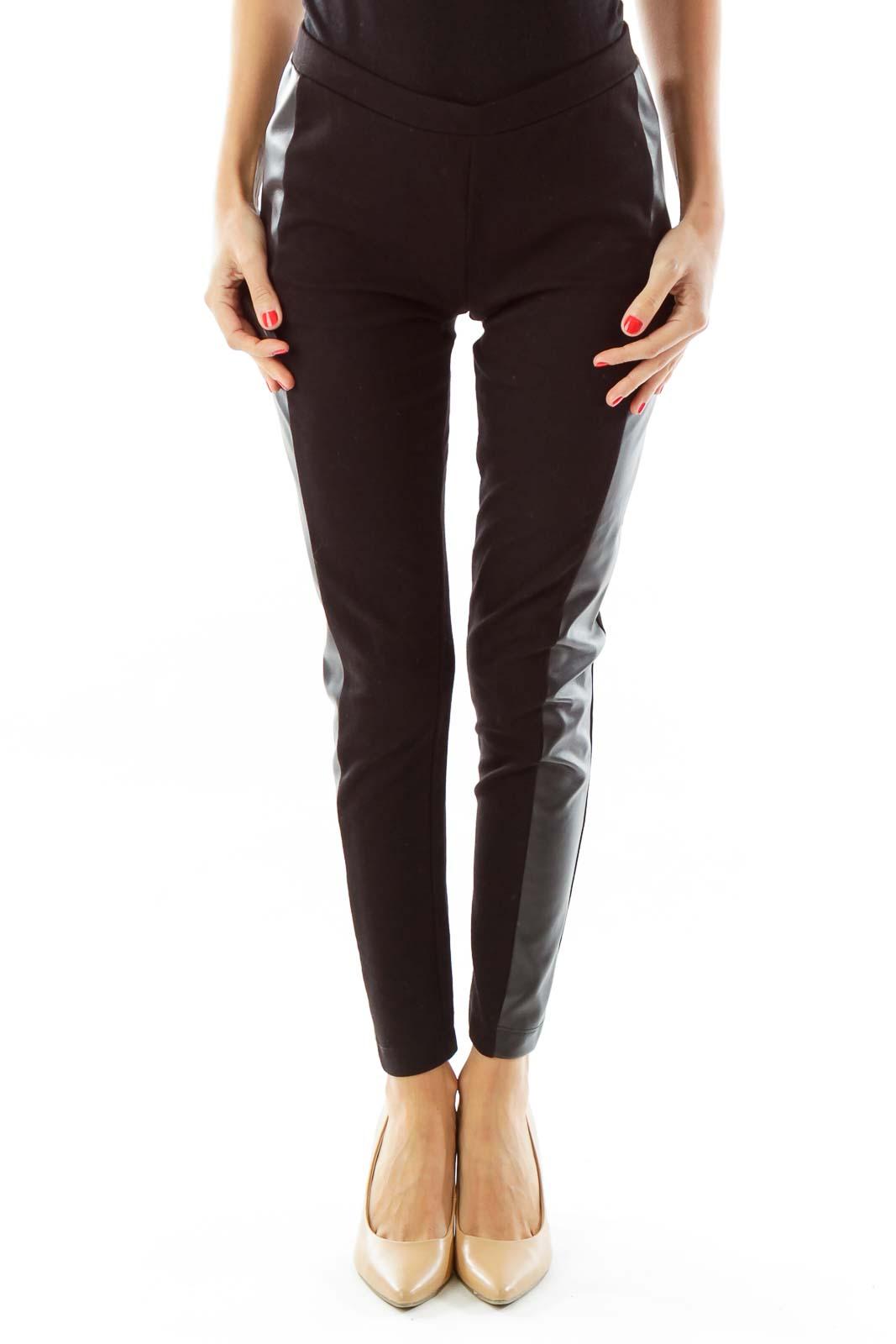 Black Faux-Leather Trim Leggings Front