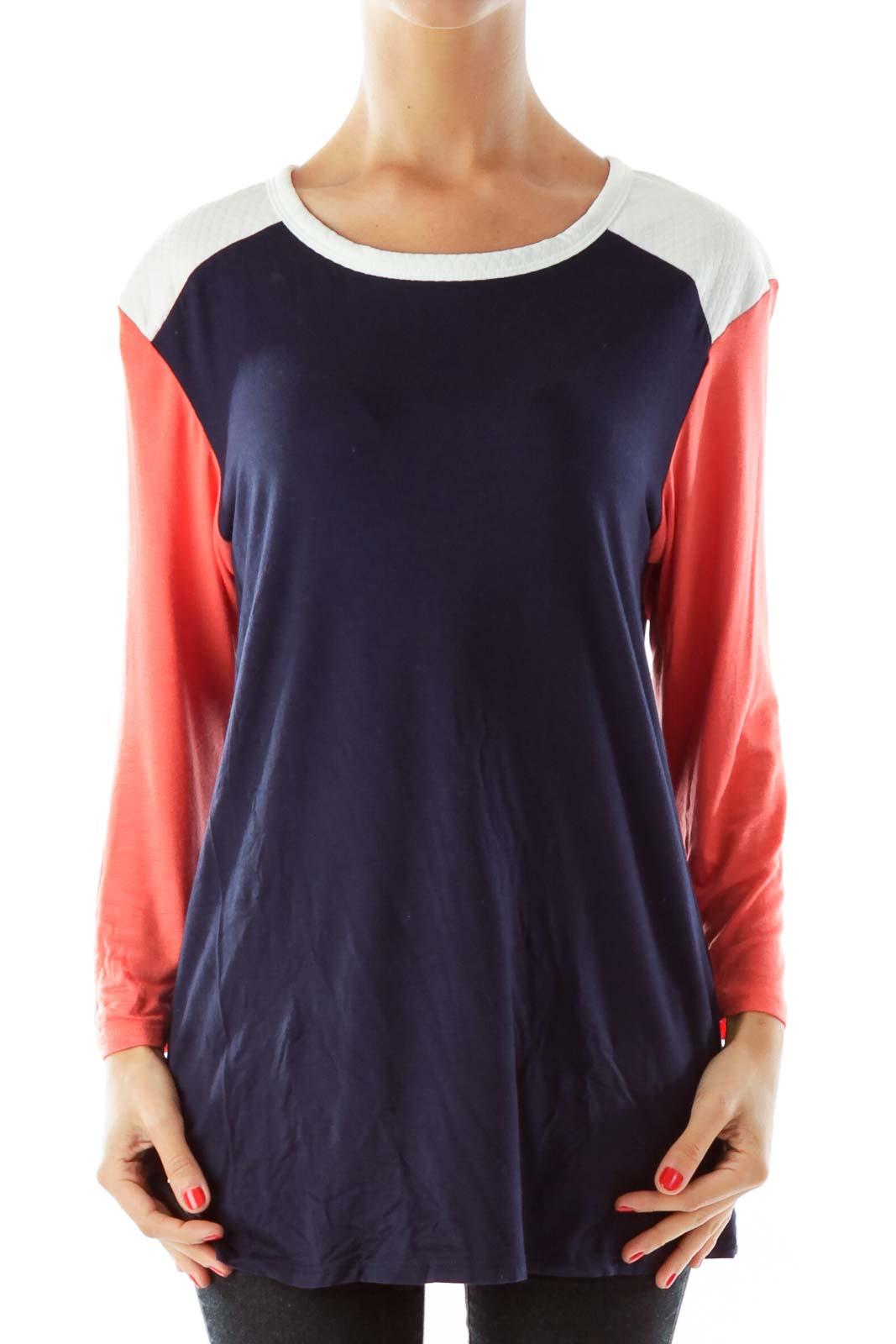 Navy & Coral Color Block Shirt Front