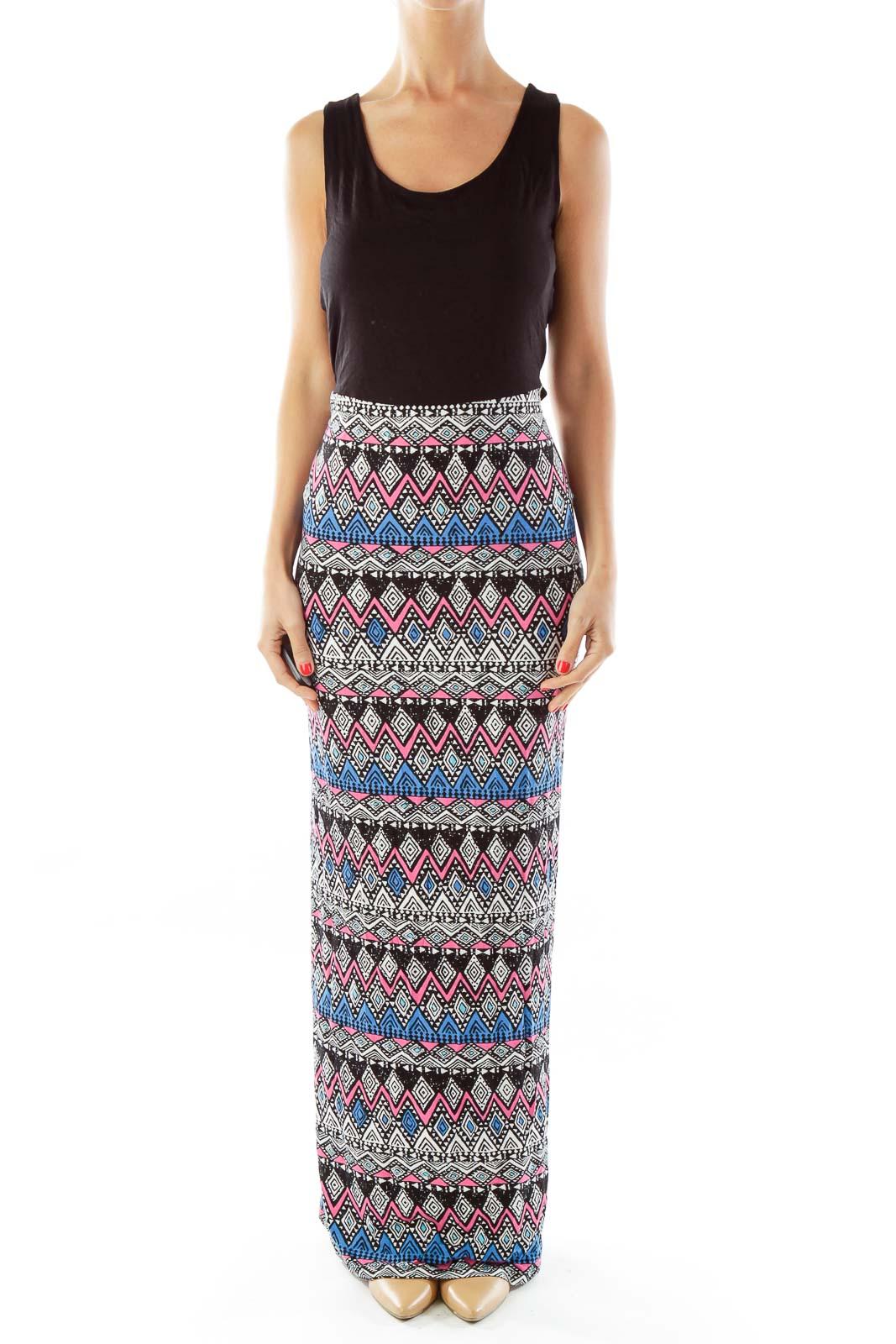 Black & Multicolor Tribal Print Maxi Dress Front