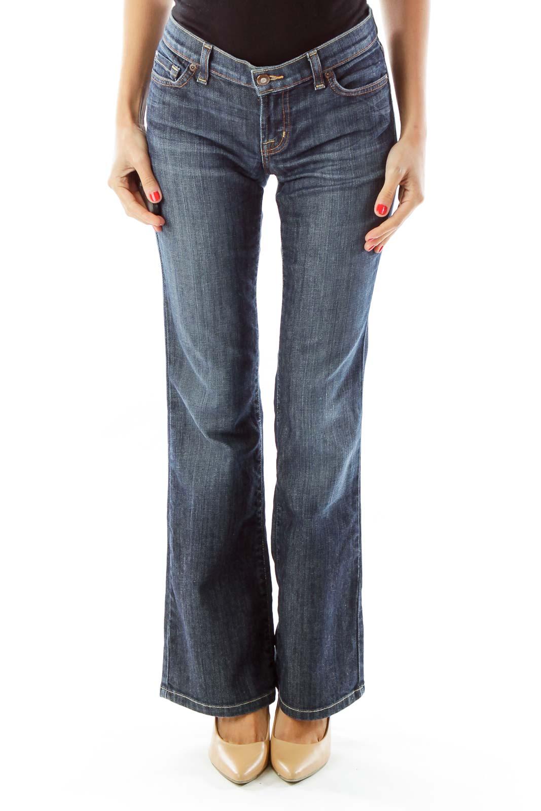 Blue Flared Denim Pants Front