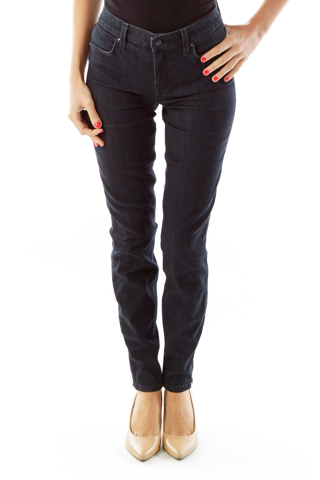 Navy Skinny Ankle-Fly Zipper Jeans Front