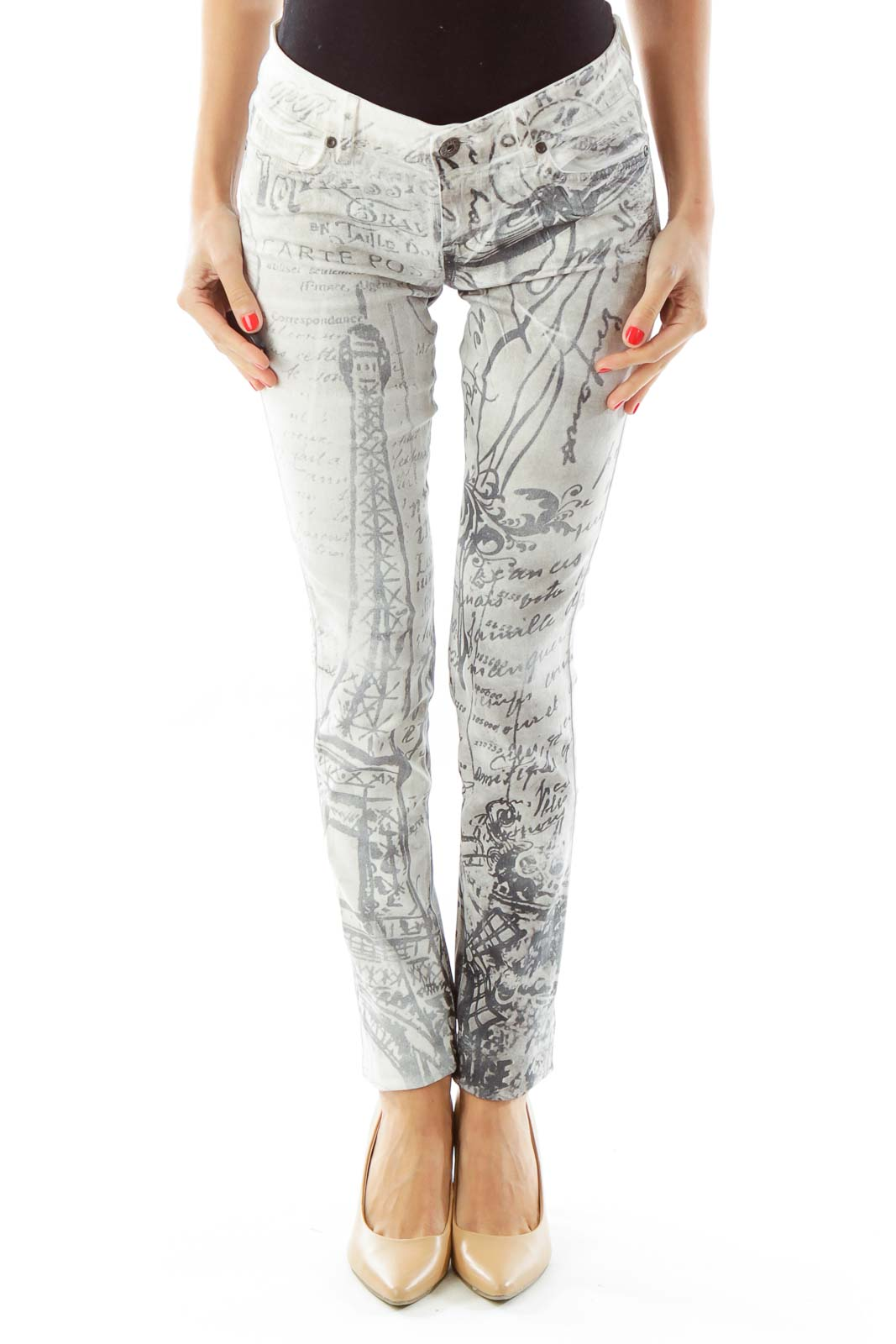 White Gray French Print Skinny Jeans Front