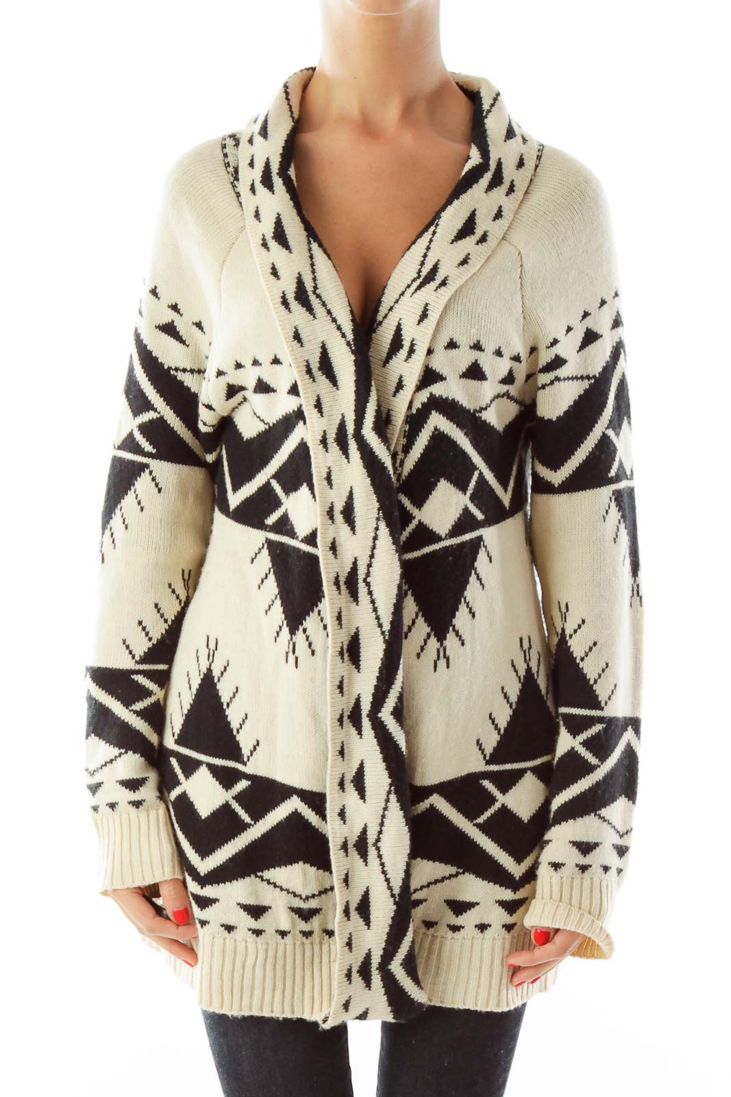 Beige Black Geometric Sweater Front