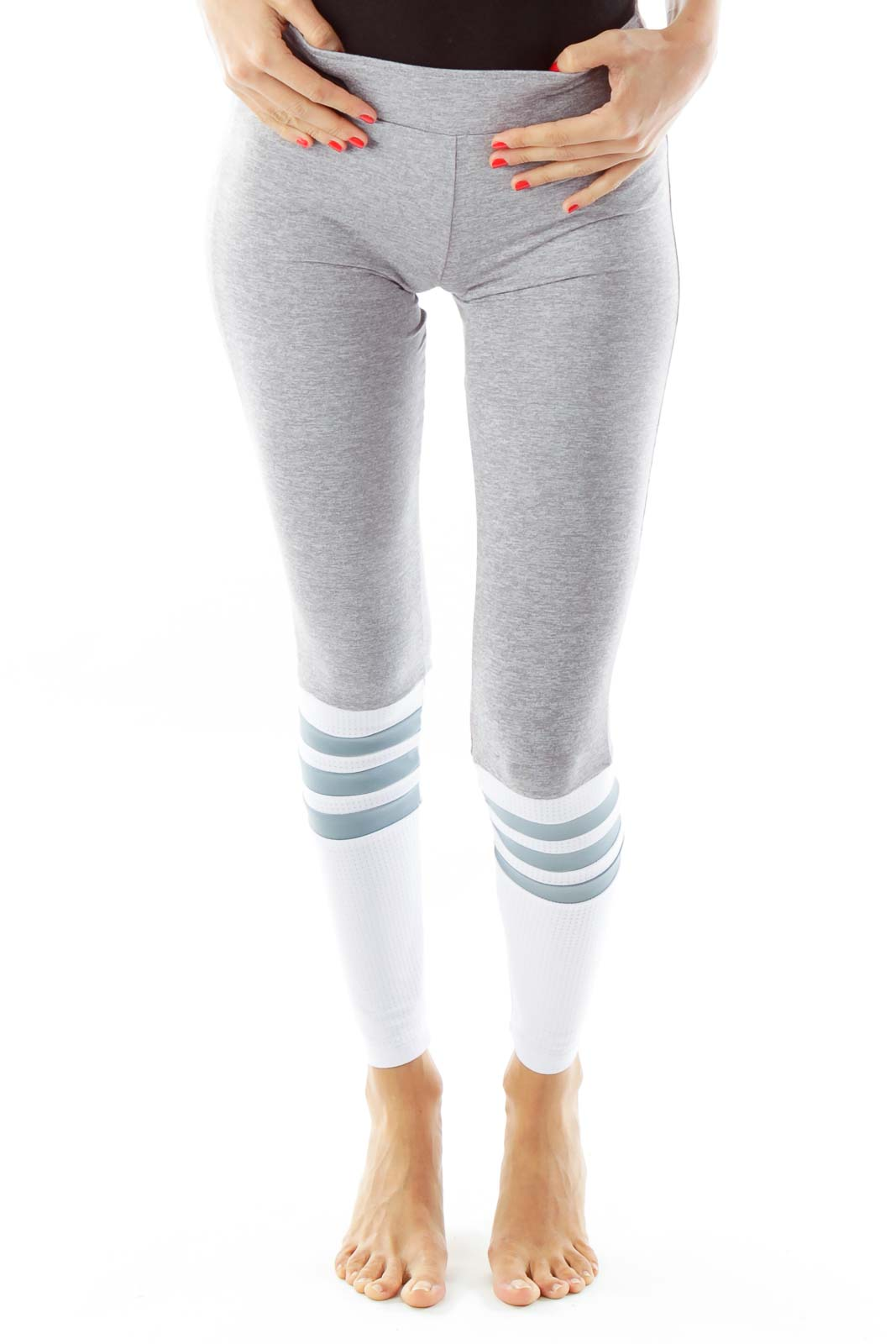 Gray White Striped Knee Yoga Pants Front