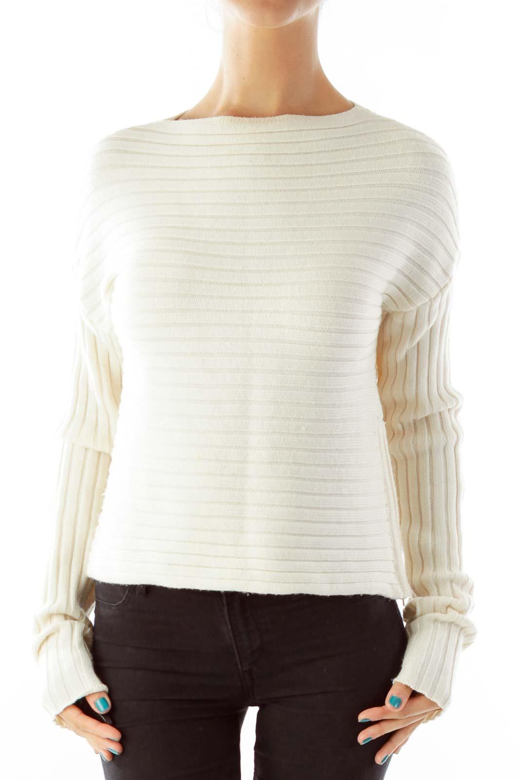 Cream Merino Wool Sweater Front