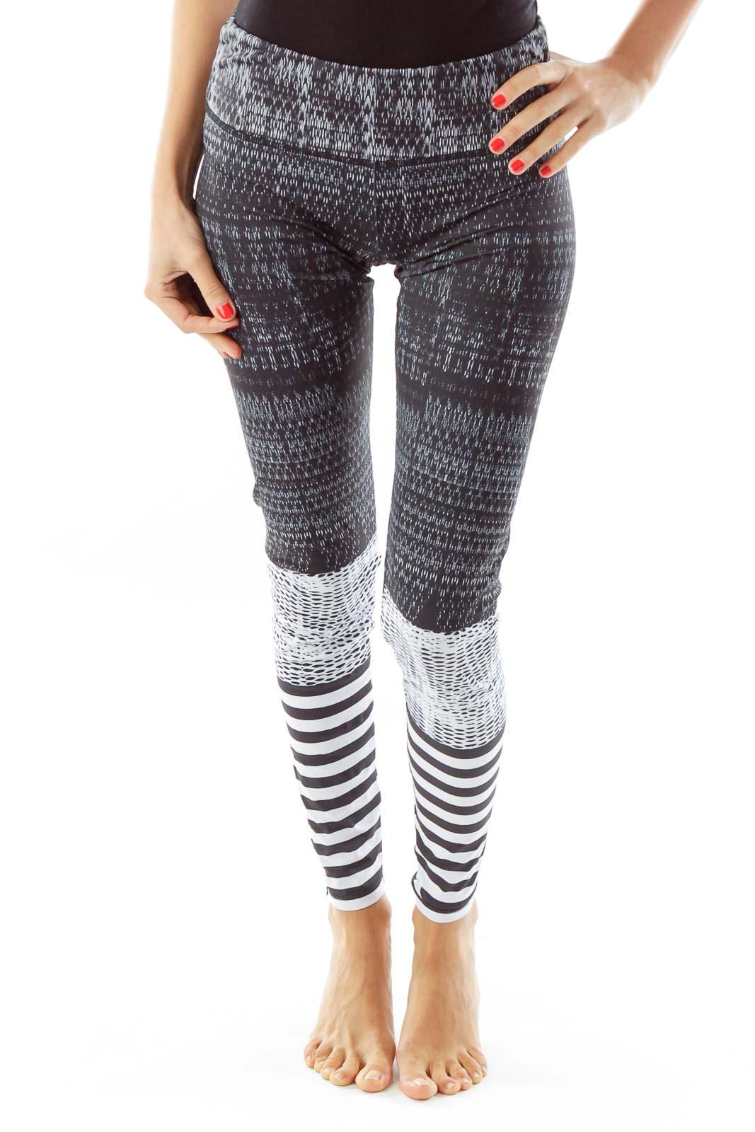 Black White Striped Yoga Pants Front