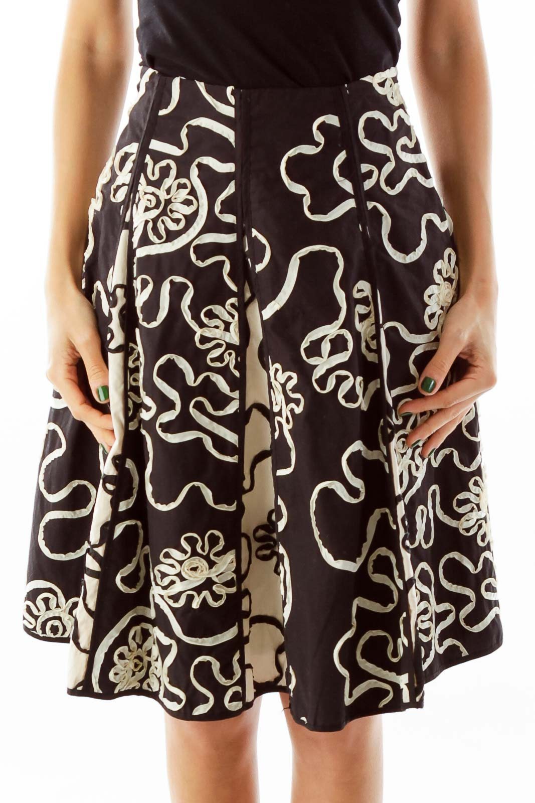 Black Embroidered A-Line Skirt Front