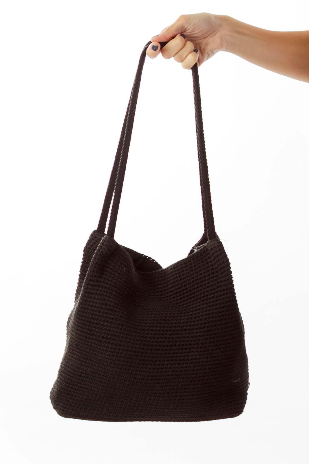 Black Woven Shoulder Bag Front