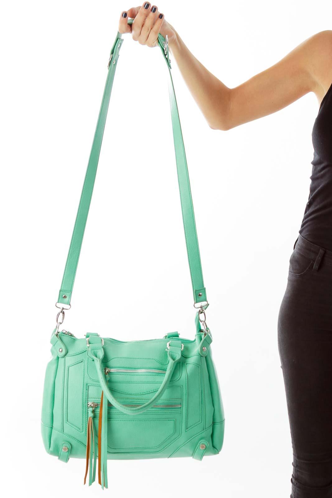 Sea Green Leather Shoulder Bag Front