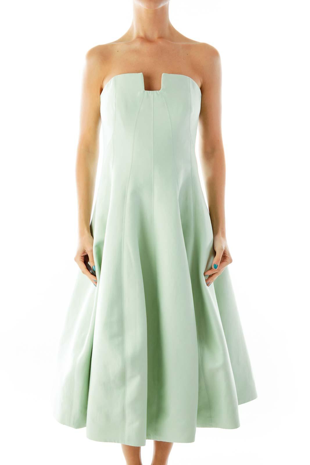Sea Green Strapless Evening Dress Front