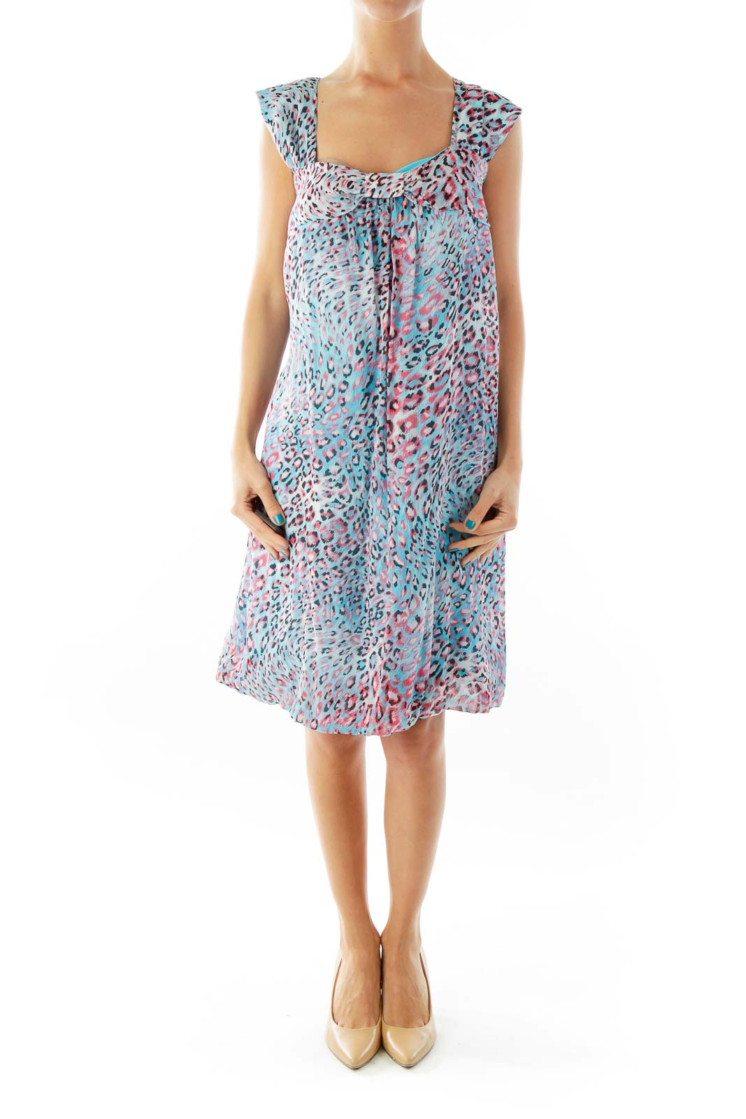 Blue Pink Cheetah Print Day Dress Front