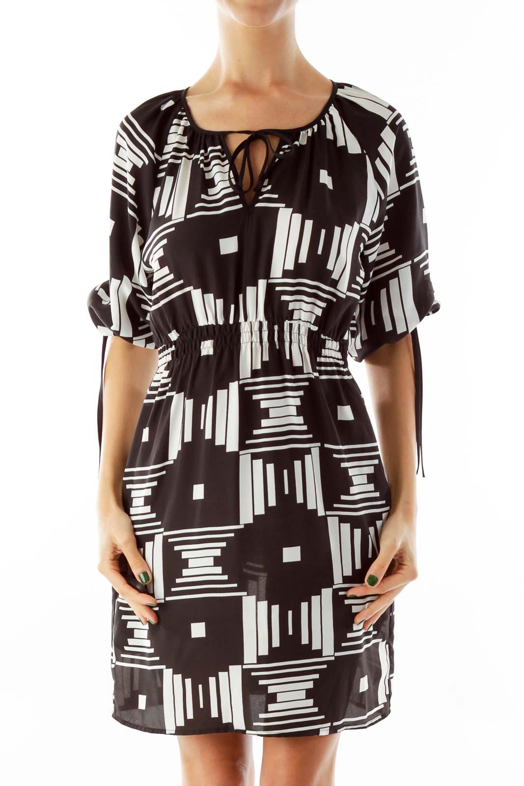 Black & White Aztec Print Dress Front