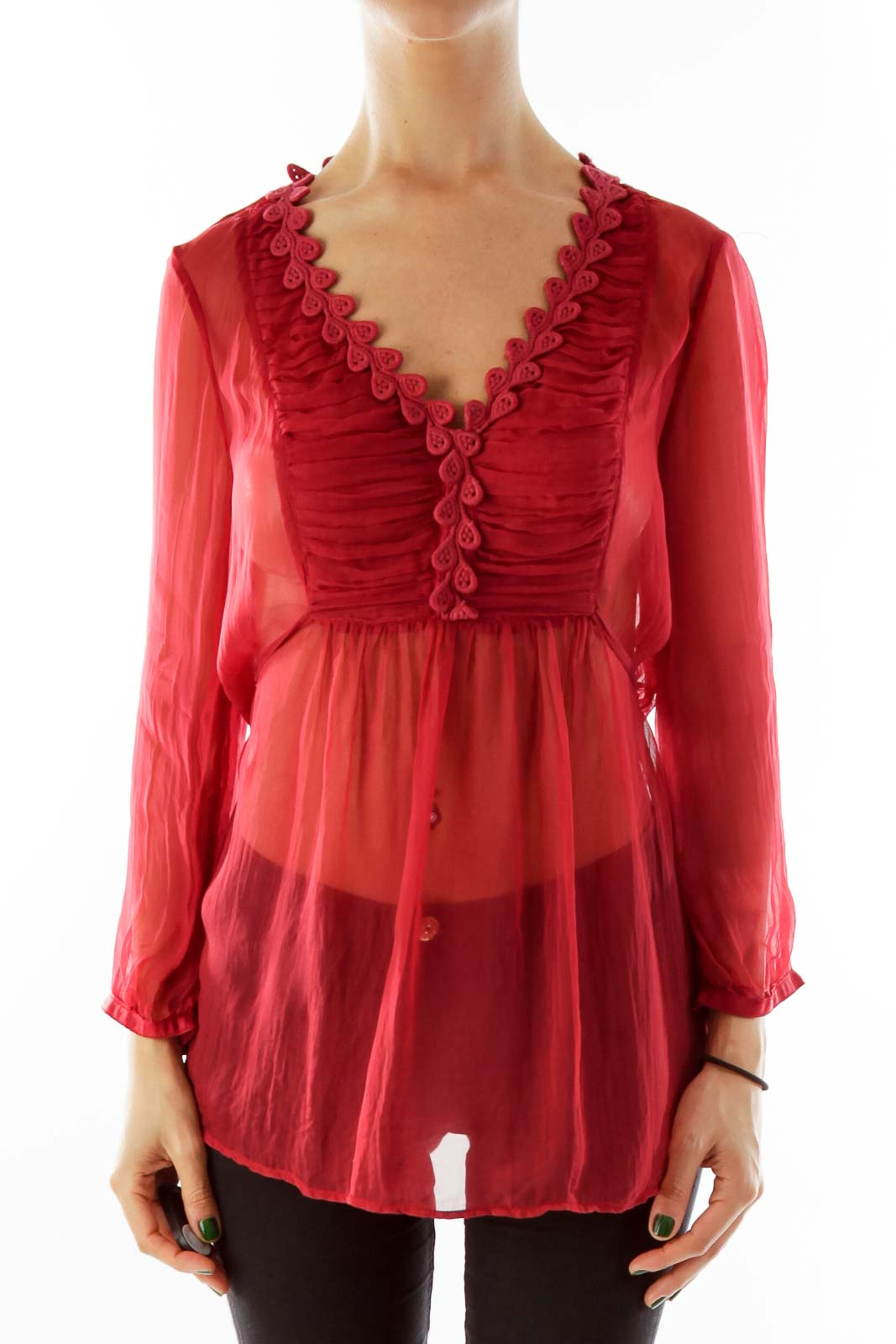 Red Sheer Blouse Front