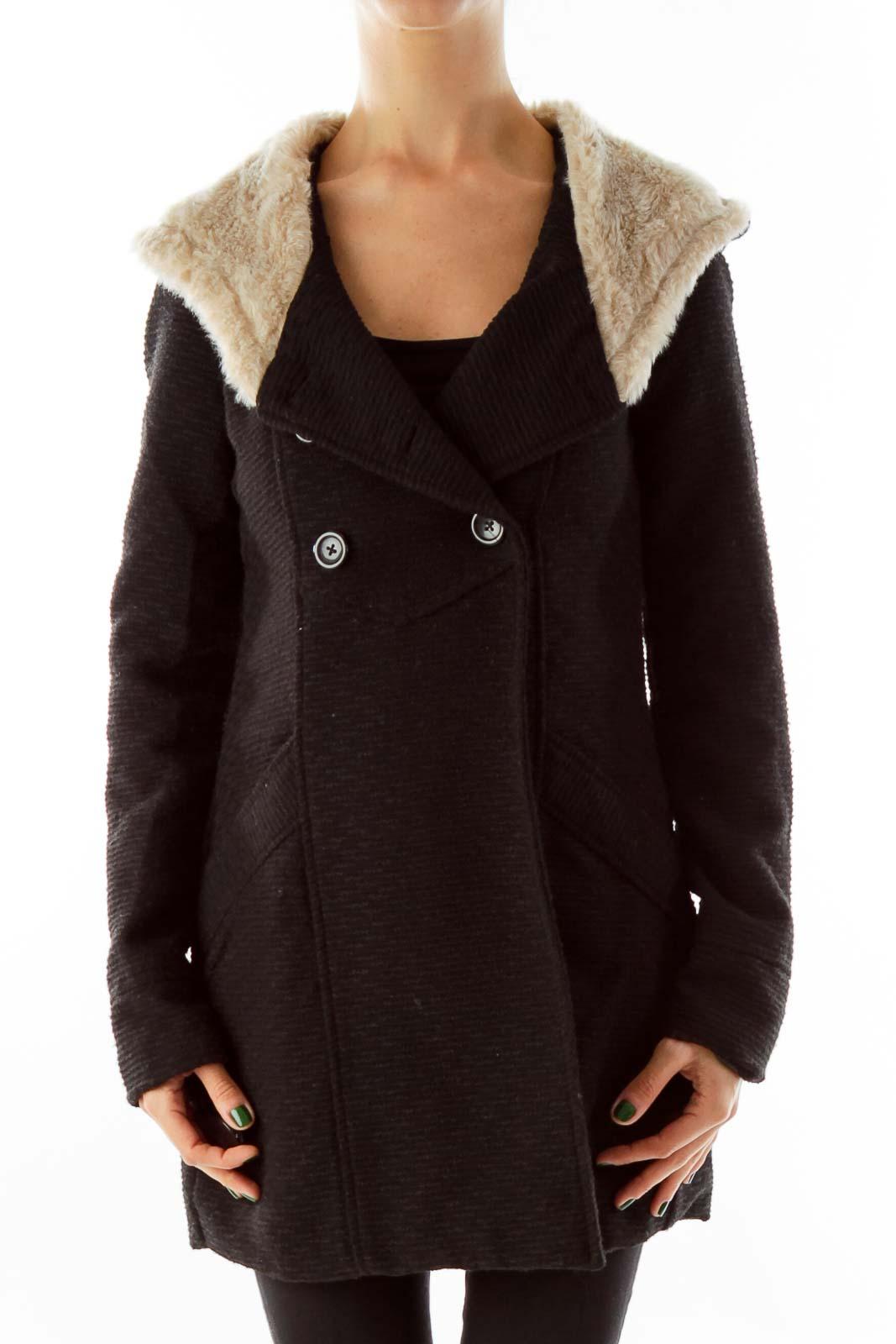 Black Shearling Jacket Front