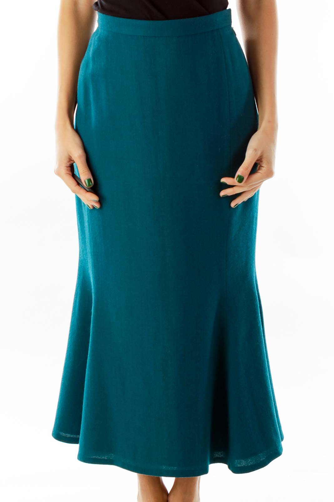 Turquoise Vintage Trumpet Skirt Front