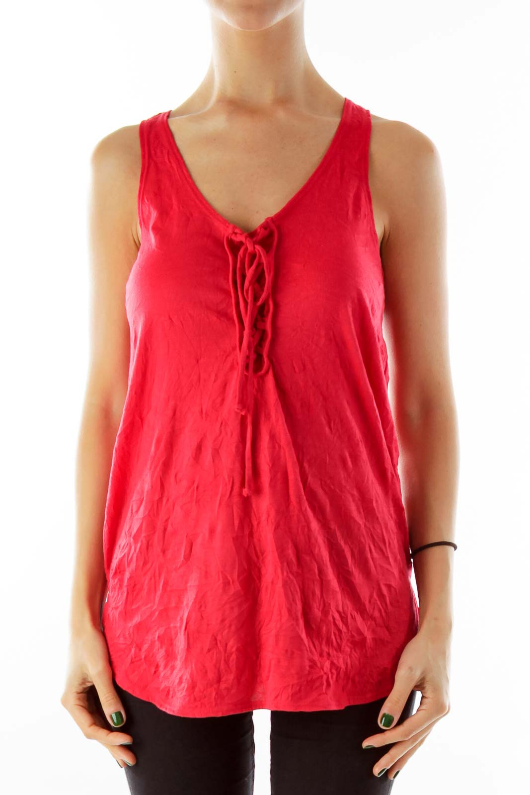 Red Knit Tank Top Front