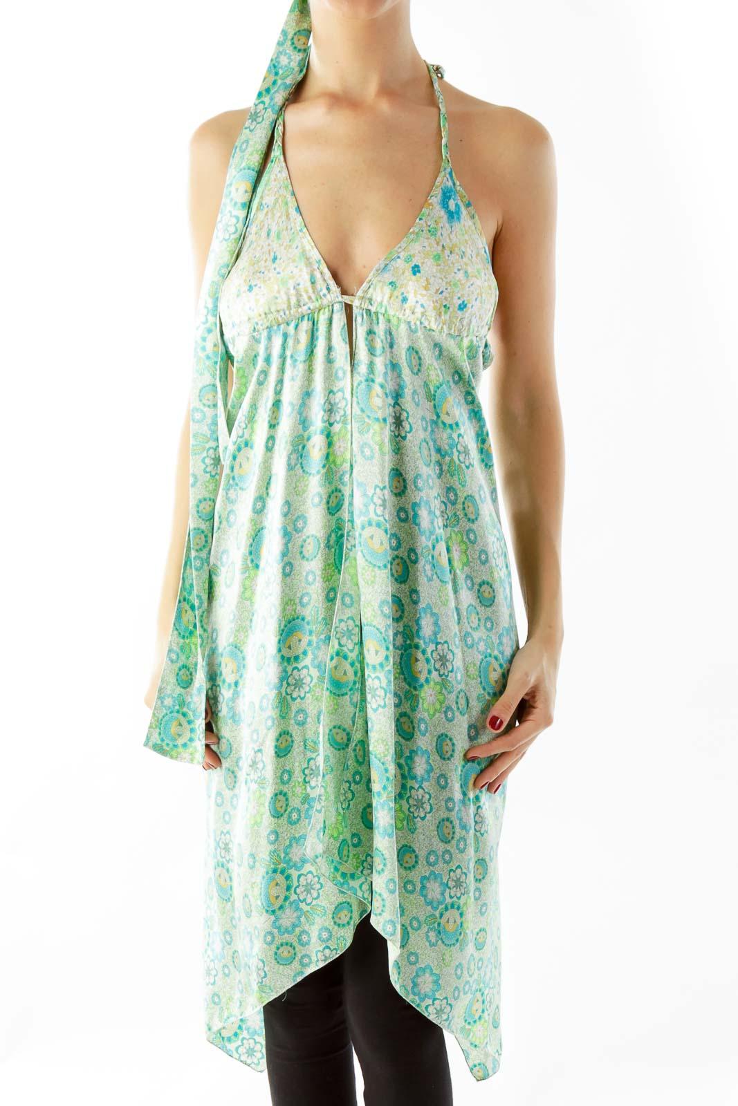 Blue Green Floral Dress Front