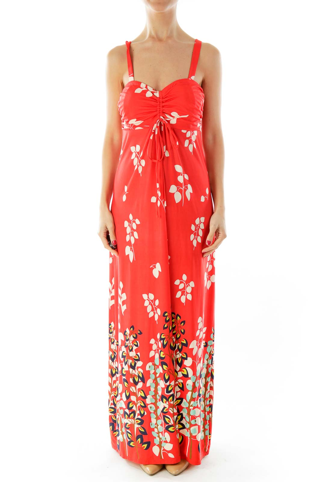 Red Floral Print Maxi Dress Front