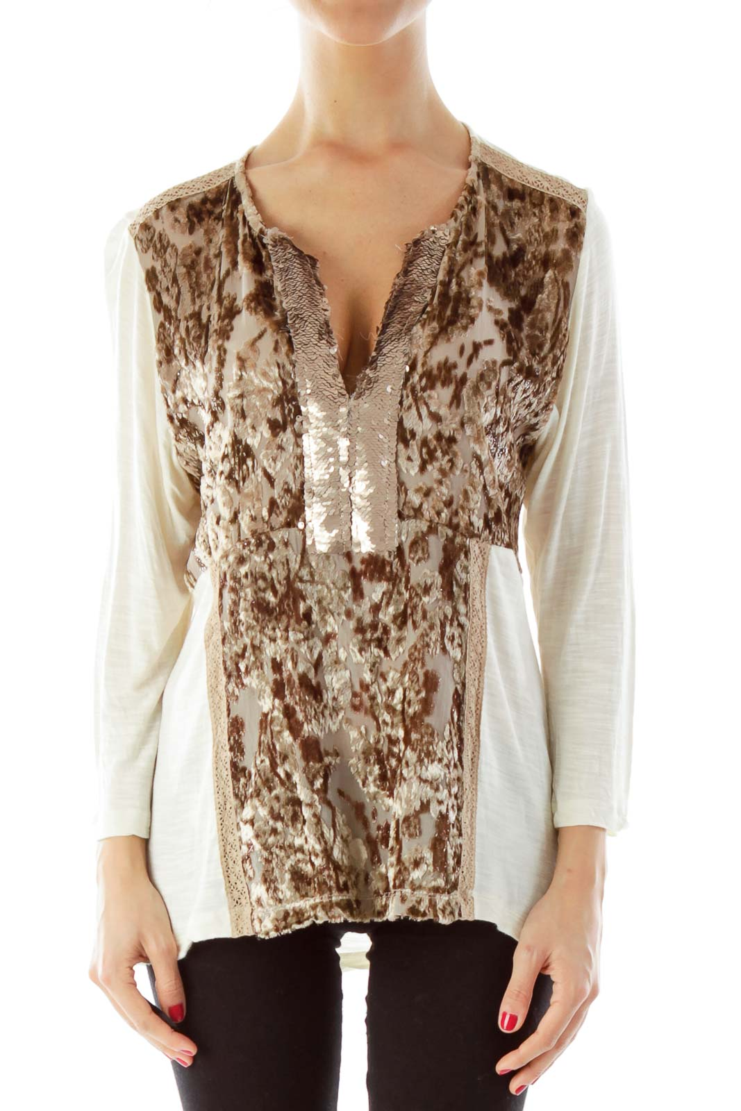 Cream & Brown Fuzzy Sequined Skirt Front