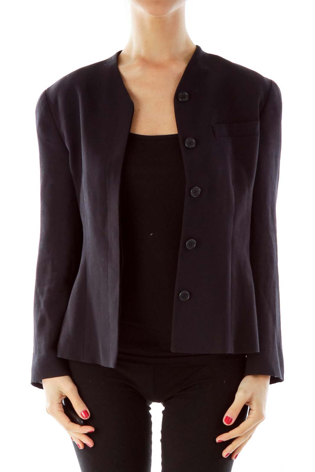 Black Button Blazer Front