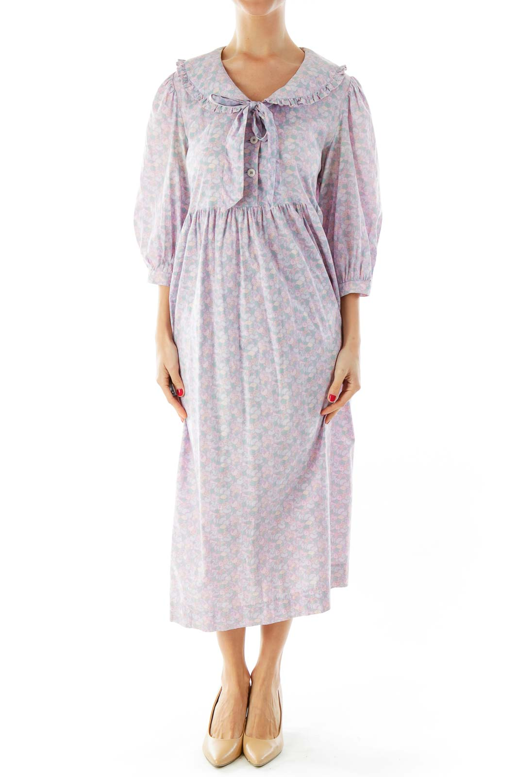 Lavender Floral Midi Dress Front