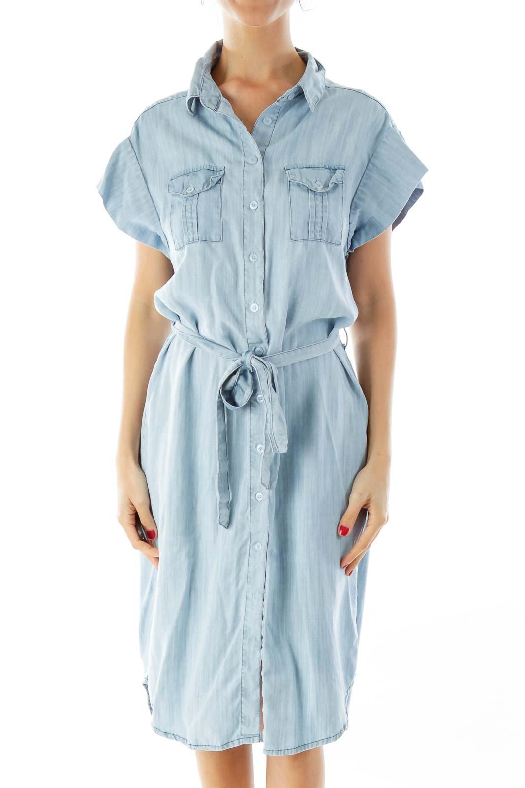 Light Wash Denim Shirt Dress Front